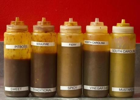 A variety of sauces.